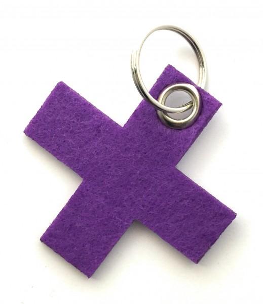 Kreuz, klein / X - Filz-Schlüsselanhänger - Farbe: lila / flieder - optional mit Gravur / Aufdruck