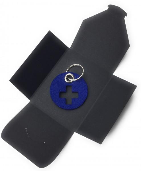 Schlüsselanhänger aus Filz - Kreis / Scheibe / mit Kreuz - königsblau als Schlüsselanhänger / Koffer
