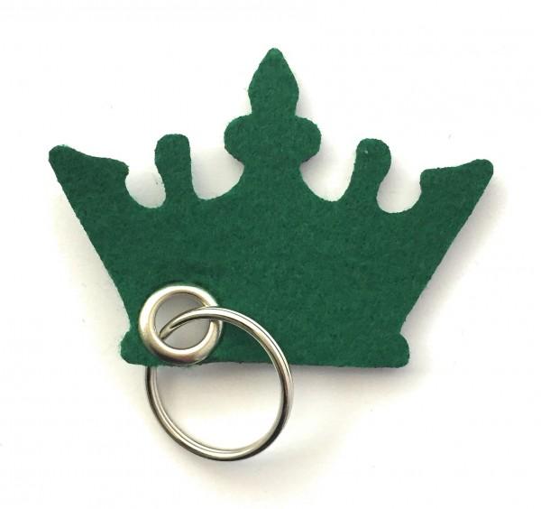 Krone - Filz-Schlüsselanhänger - Farbe: waldgrün - optional mit Gravur / Aufdruck