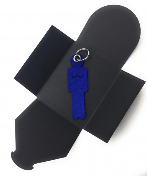 Schlüsselanhänger aus Filz optional mit Namensgravur - Frau / Hers - königsblau als Schlüsselanhäng