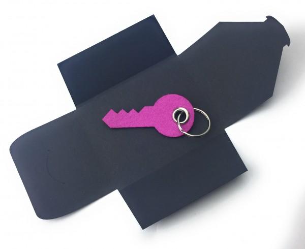 Schlüsselanhänger aus Filz optional mit Namensgravur - Haus-Tür-Schlüssel / Key - pink / magenta als