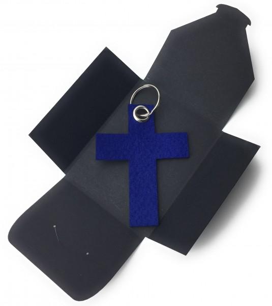 Schlüsselanhänger aus Filz optional mit Namensgravur - Kreuz gross - königsblau als Schlüsselanhänge