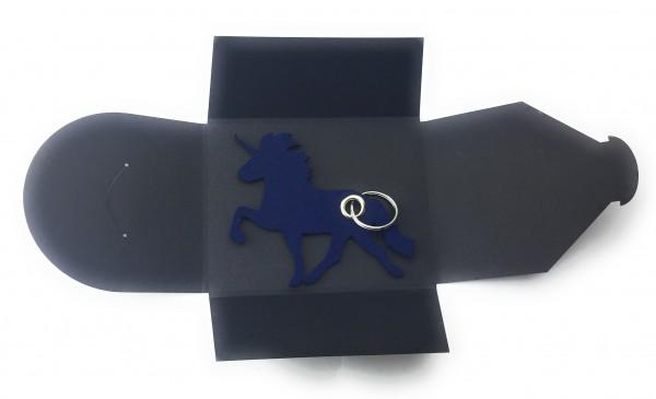 Schlüsselanhänger aus Filz optional mit Namensgravur - Einhorn / Märchen - marineblau als Schlüssela