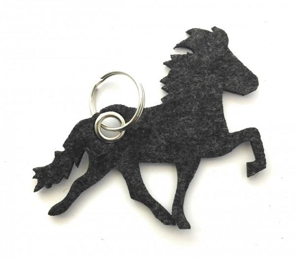 Island -Pferd / Reiten - Filz-Schlüsselanhänger - Farbe: schwarz meliert - optional mit Gravur / Auf
