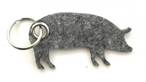 Schwein / Hausschwein - Filz-Schlüsselanhänger - Farbe: grau meliert - optional mit Gravur / Aufdruc