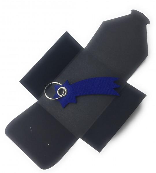 Schlüsselanhänger aus Filz optional mit Namensgravur - Sternschnuppe - königsblau als Schlüsselanhä