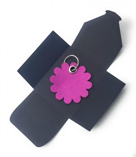 Schlüsselanhänger aus Filz optional mit Namensgravur - Blume rund / Blüte - pink / magenta als Schl