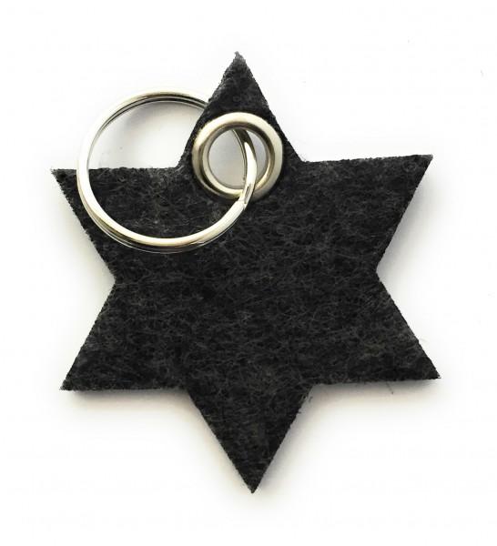 Stern / 6eckig - Filz-Schlüsselanhänger - Farbe: schwarz meliert - optional mit Gravur / Aufdruck