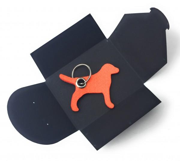 Schlüsselanhänger aus Filz optional mit Namensgravur - Hund / Tier - orange als Schlüsselanhänger /