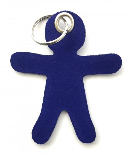 Lebkuchen - Männchen - Filz-Schlüsselanhänger - Farbe: royalblau - optional mit Gravur / Aufdruck