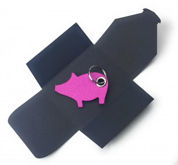 Schlüsselanhänger aus Filz optional mit Namensgravur - Schwein / Glücksschwein - pink / magenta als
