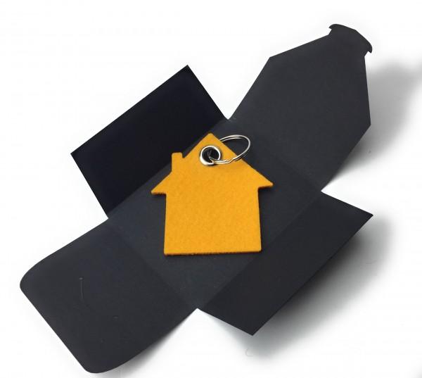 Schlüsselanhänger aus Filz optional mit Namensgravur - Haus - safrangelb als Schlüsselanhänger / Kof