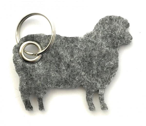 Schaf / Lamm / Tier - Filz-Schlüsselanhänger - Farbe: grau meliert - optional mit Gravur / Aufdruck