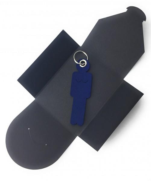 Schlüsselanhänger aus Filz optional mit Namensgravur - Frau / Hers - marineblau als Schlüsselanhäng