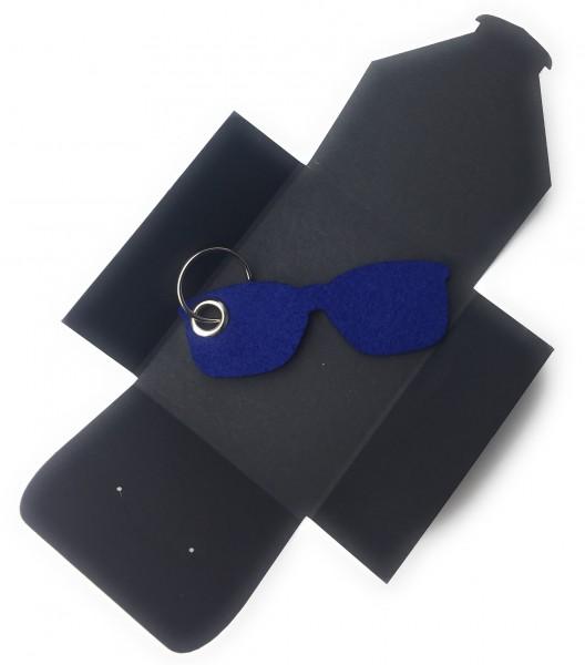 Schlüsselanhänger aus Filz optional mit Namensgravur - Sonnen-Brille / Urlaub - königsblau als Schl