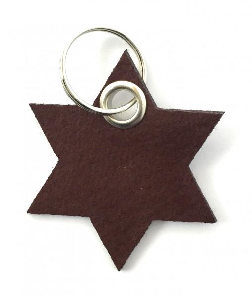 Stern / 6eckig - Filz-Schlüsselanhänger - Farbe: braun - optional mit Gravur / Aufdruck