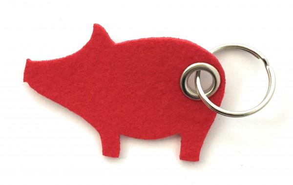 Glücks-Schwein - Filz-Schlüsselanhänger - Farbe: rot - optional mit Gravur / Aufdruck