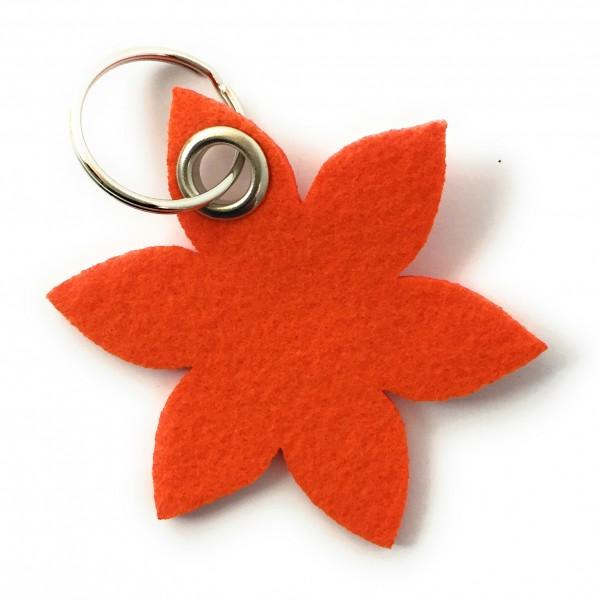 Blume - Spitz - Filz-Schlüsselanhänger - Farbe: orange - optional mit Gravur / Aufdruck