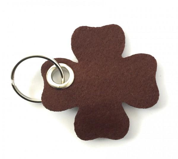 Glücksklee-Blatt - Filz-Schlüsselanhänger - Farbe: braun - optional mit Gravur / Aufdruck