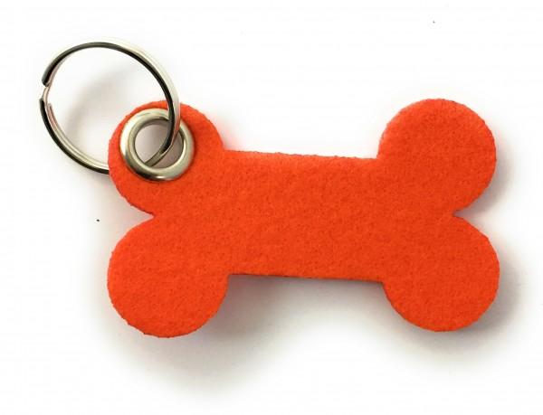 Knochen / Hundeknochen - Filz-Schlüsselanhänger - Farbe: orange - optional mit Gravur / Aufdruck