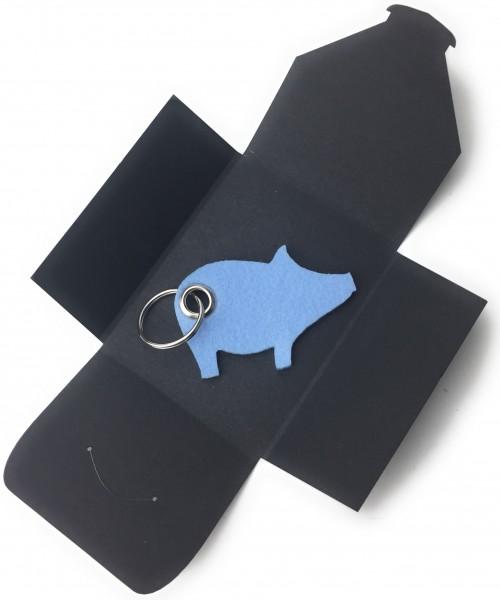 Schlüsselanhänger aus Filz optional mit Namensgravur - Schwein / Glücksschwein - eisblau als Schlüss