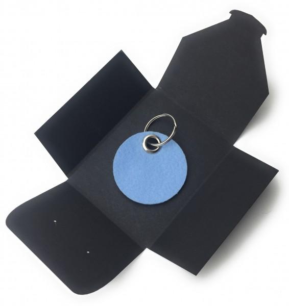 Schlüsselanhänger aus Filz optional mit Namensgravur - Kreis / Scheibe - eisblau als Schlüsselanhän