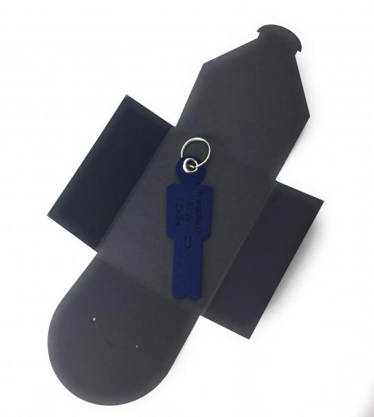 Schlüsselanhänger aus Filz optional mit Namensgravur - Mann His - marineblau als Schlüsselanhänger