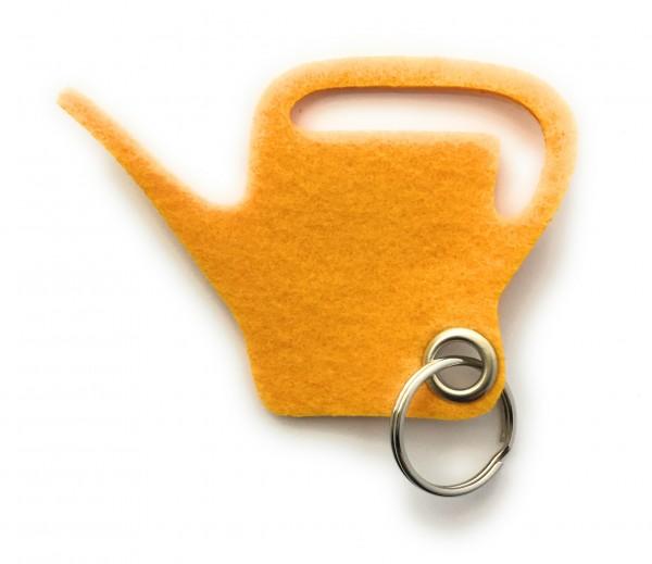 Giess-Kanne - Filz-Schlüsselanhänger - Farbe: gelb - optional mit Gravur / Aufdruck