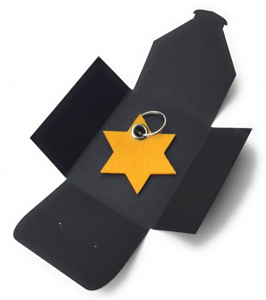 Schlüsselanhänger aus Filz optional mit Namensgravur - 6eck-Stern - safrangelb als Schlüsselanhänge