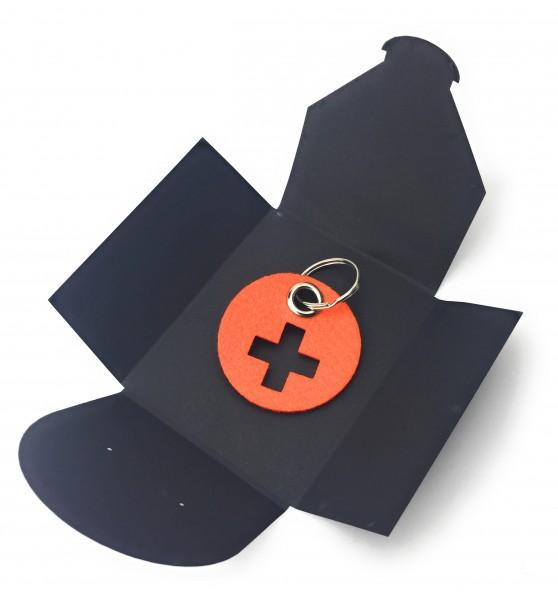 Schlüsselanhänger aus Filz - Kreis / Scheibe / mit Kreuz - orange als Schlüsselanhänger / Kofferanhä