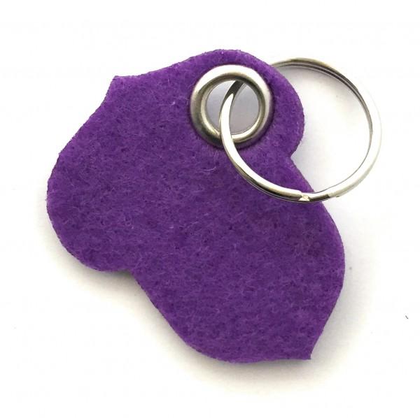Hasel-Nuss - Filz-Schlüsselanhänger - Farbe: lila / flieder - optional mit Gravur / Aufdruck