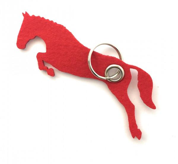 Spring - Pferd - Filz-Schlüsselanhänger - Farbe: rot - optional mit Gravur / Aufdruck