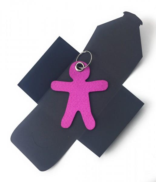 Schlüsselanhänger aus Filz optional mit Namensgravur - Figur / Lebkuchenmännchen - pink / magenta a