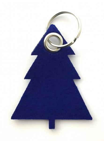 Tannenbaum / Nadelbaum groß - Filz-Schlüsselanhänger - Farbe: royalblau - optional mit Gravur / Aufd