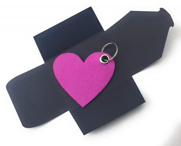 Schlüsselanhänger aus Filz optional mit Namensgravur - Herz / Liebe gross - pink / magenta als Schlü