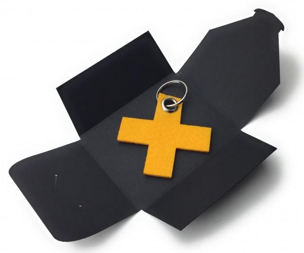 Schlüsselanhänger aus Filz optional mit Namensgravur - X / Kreuz klein - safrangelb als Schlüsselanh