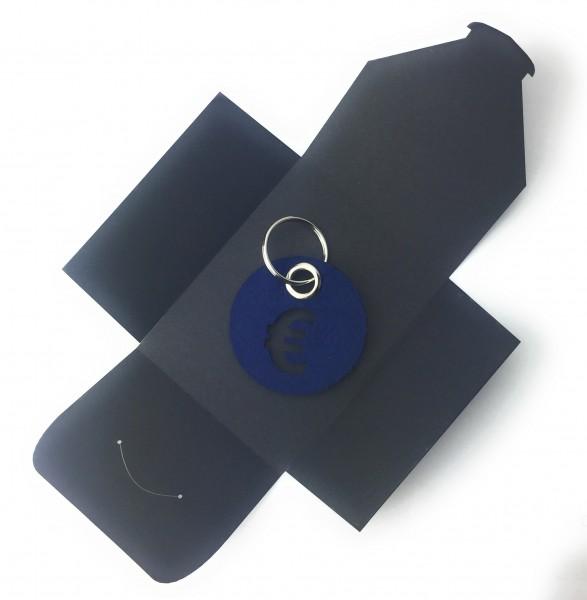 Schlüsselanhänger aus Filz - Kreis / Scheibe / mit €-Zeichen - marineblau als Schlüsselanhänger / K