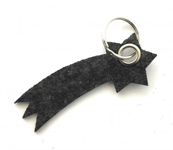Sternschnuppe - Filz-Schlüsselanhänger - Farbe: schwarz meliert - optional mit Gravur / Aufdruck