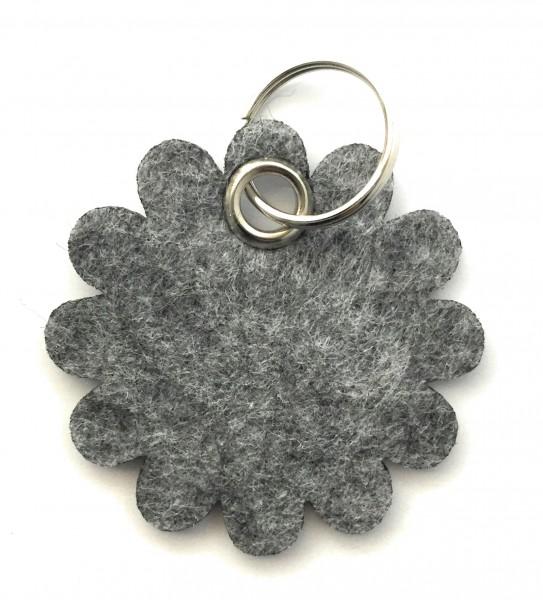 Blume - Rund - Filz-Schlüsselanhänger - Farbe: grau meliert - optional mit Gravur / Aufdruck
