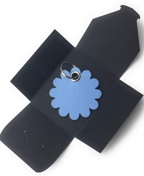 Schlüsselanhänger aus Filz optional mit Namensgravur - Blume - Rund / Blüte - eisblau als Schlüssel