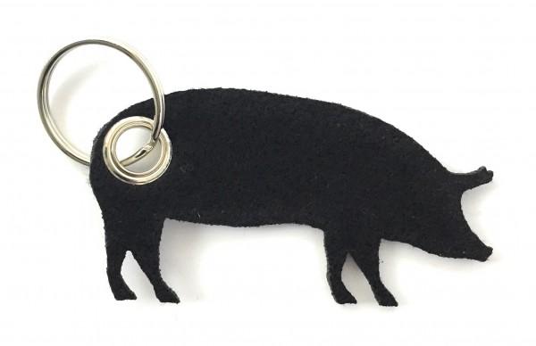 Schwein / Hausschwein - Filz-Schlüsselanhänger - Farbe: schwarz - optional mit Gravur / Aufdruck