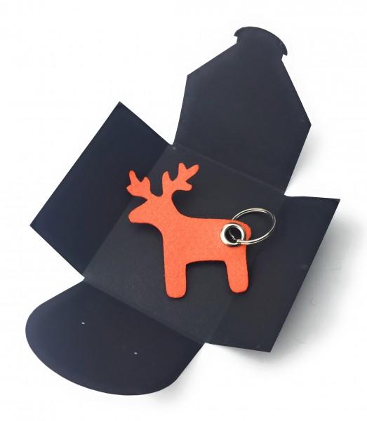 Schlüsselanhänger aus Filz optional mit Namensgravur - Elch / Weihnachten - orange als Schlüsselanh