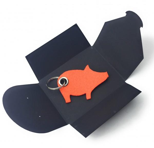 Schlüsselanhänger aus Filz optional mit Namensgravur - Schwein / Glücksschwein - orange als Schlüsse