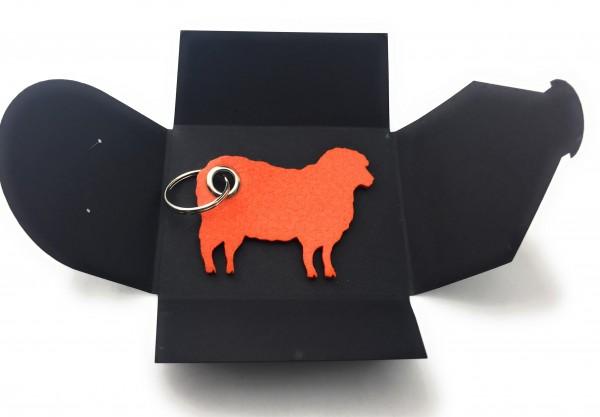 Schlüsselanhänger aus Filz optional mit Namensgravur - Schaf / Lamm / Tier - orange als Schlüsselanh