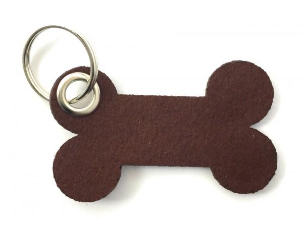 Knochen / Hundeknochen - Filz-Schlüsselanhänger - Farbe: braun - optional mit Gravur / Aufdruck