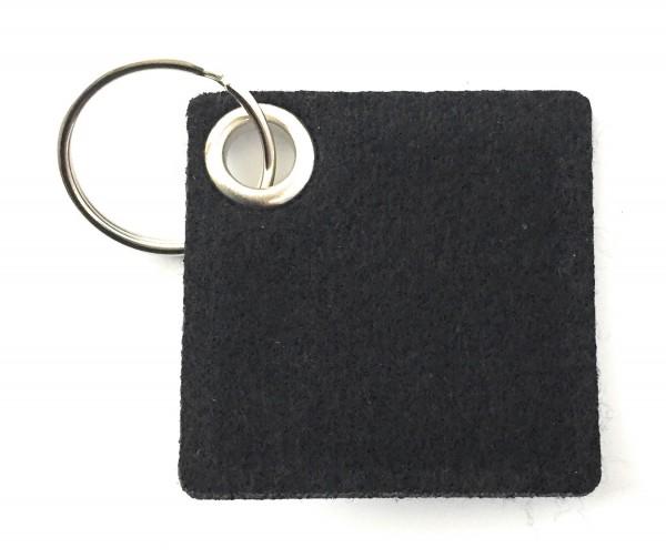 Viereck - Filz-Schlüsselanhänger - Farbe: schwarz - optional mit Gravur / Aufdruck