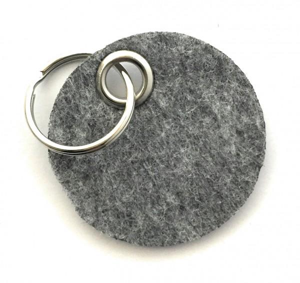 Kreis / Scheibe / Rund - Filz-Schlüsselanhänger - Farbe: grau meliert - optional mit Gravur / Aufdru