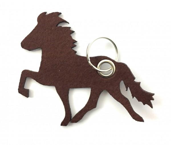 Island -Pferd / Reiten - Filz-Schlüsselanhänger - Farbe: braun - optional mit Gravur / Aufdruck