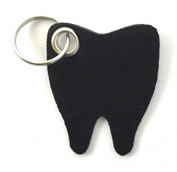 Backen - Zahn - Filz-Schlüsselanhänger - Farbe: schwarz - optional mit Gravur / Aufdruck