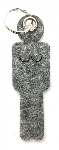 Frau / Hers - Filz-Schlüsselanhänger - Farbe: grau meliert - optional mit Gravur / Aufdruck